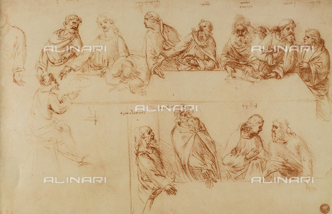 DIS-F-001086-0000 - Study for the Last Supper, sanguine drawing, Galleries of the Academy, Venice