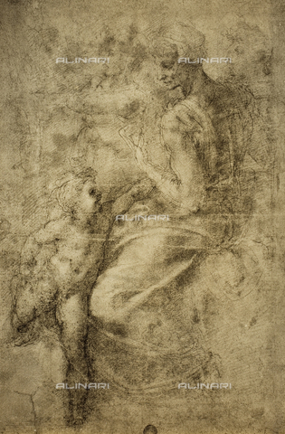 DIS-F-001087-0000 - Study for a sibyl of the Sistine Chapel; drawing by Michelangelo. Gallerie dell'Accademia, Venice