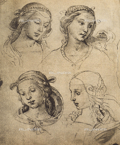 DIS-F-001093-0000 - Study of four feminine faces, drawing, Gallerie dell'Accademia, Venice