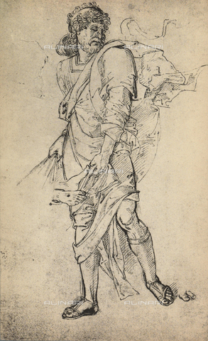 DIS-F-001094-0000 - Male figure with mantle, drawing, Gallerie dell'Accademia, Venice