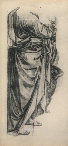 "DIS-F-001098-0000 - Study for the mantle of Saint Paul in the ""pala"" or altarpiece of Bologna"", drawing, Gallerie dell'Accademia, Venice"