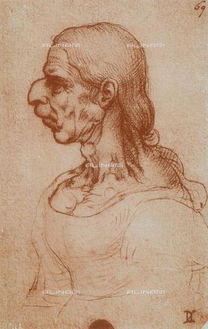 DIS-F-001105-0000 - Caricatura femminile, disegno di Leonardo da Vinci, Gallerie dell'Accademia, Venezia
