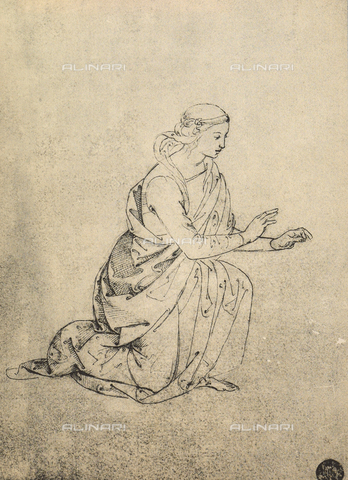 DIS-F-001106-0000 - Female figure kneeling, drawing, Gallerie dell'Accademia, Venice