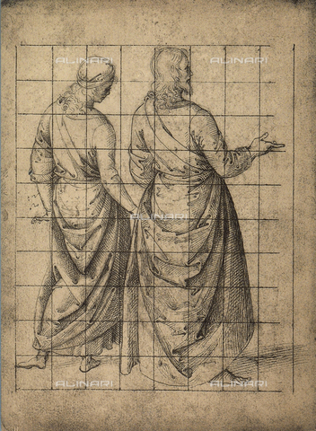 DIS-F-001107-0000 - Male figures, rear view; drawing, Gallerie dell'Accademia, Venice