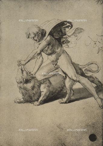 DIS-F-001109-0000 - Sansone combatte con il leone, disegno, Gallerie dell'Accademia, Venezia