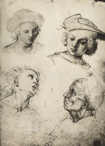 DIS-F-001128-0000 - Study of four male faces, Gallerie dell'Accademia, Venice