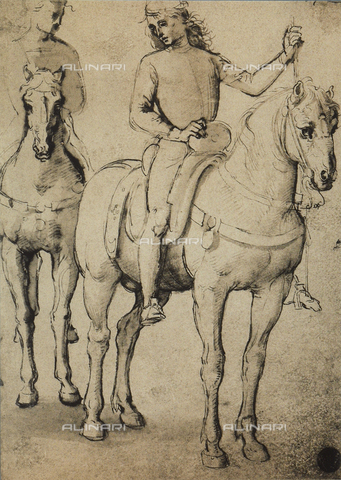 DIS-F-001131-0000 - Men horseback, drawing, Gallerie dell'Accademia