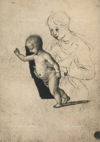 DIS-F-001136-0000 - Madonna and Child, drawing, Gallerie dell'Accademia, Venice