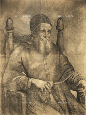 DIS-F-001239-0000 - Study for the portrait of Pope Julius II, drawing; Galleria Corsini, Florence