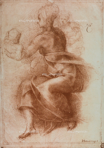 DIS-F-001334-0000 - The Virgin and Child, drawing, Michelangelo, The Louvre, Paris