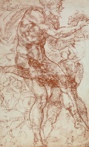DIS-F-001345-0000 - Dancing faun and young satyr, drawing, Michelangelo, The Louvre, Paris
