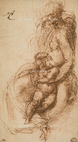 DIS-F-001350-0000 - Study for a Madonna and Child, drawing, Michelangelo, The Louvre, Paris