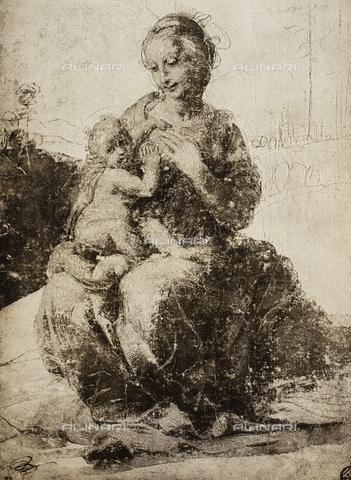 DIS-F-001522-0000 - Madonna col Bambino, disegno di Raffaello, Museo del Louvre, Parigi
