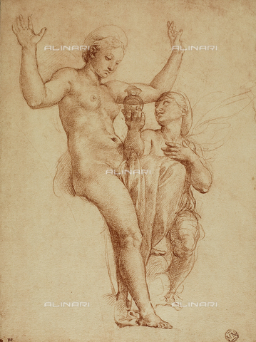 DIS-F-001526-0000 - Psyche presents Venus with a jar containing water of the Styx; drawing by Raphael. The Louvre, Paris