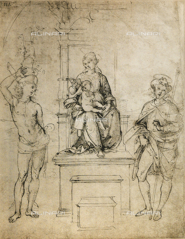 DIS-F-001529-0000 - The Virgin, the Baby Jesus, St. Sebastian and St. Rocco; drawing by Raphael. The Louvre, Paris