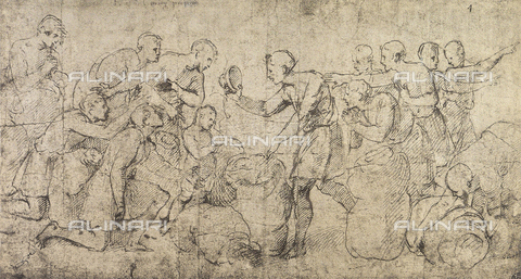 DIS-F-001534-0000 - The cup of Joseph found in Benjamin's sack; drawing by Raphael in the Louvre Museum in Paris