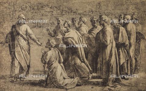 DIS-F-001536-0000 - La consegna delle chiavi a San Pietro, disegno di Raffaello, Museo del Louvre, Parigi