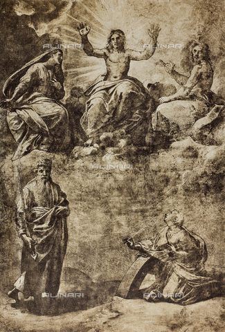 DIS-F-001540-0000 - Christ in Glory surrounded by the Virgin, St. John the Baptist, St. Paul and St. Catherine of Alexandria; drawing by Raphael, The Louvre, Paris