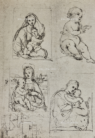 DIS-F-001542-0000 - Different studies for the Madonna and Child, drawing by Raphael, The Louvre, Paris