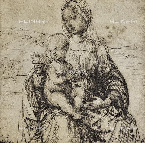 DIS-F-001544-0000 - Studio per una Vergine con il figlio, disegno di Raffaello, Museo del Louvre, Parigi