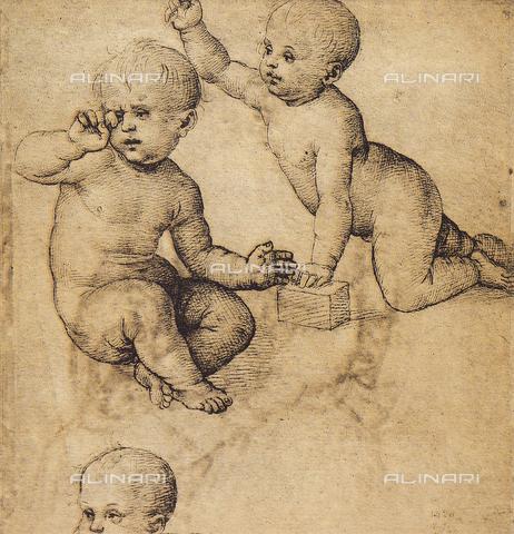 DIS-F-001545-0000 - Studio di putti, disegno di Raffaello, Museo del Louvre, Parigi