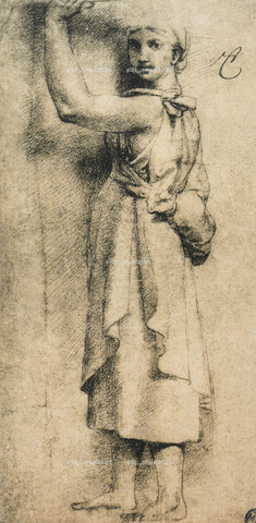 DIS-F-001547-0000 - Study for a caryatid of the Camera di Eliodoro in the Vatican; drawing by Raphael. The Louvre, Paris