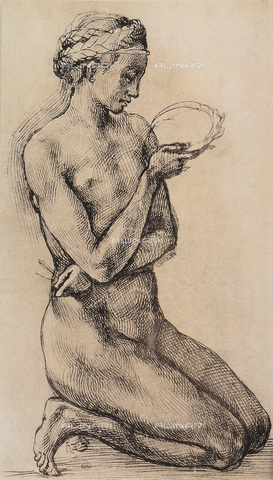 DIS-F-001562-0000 - Kneeling woman, drawing from the school of Michelangelo, The Louvre, Paris