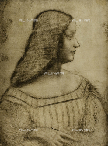 DIS-F-001603-0000 - Cartoon for the portrait of Isabella d'Este, charcoal drawing on white paper, housed in the Louvre Museum in Paris