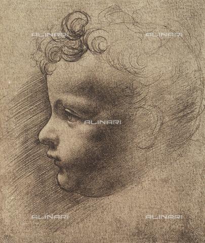 DIS-F-001606-0000 - Testa di fanciullo, disegno, Leonardo da Vinci, Museo del Louvre, Parigi