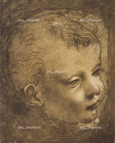 DIS-F-001607-0000 - Study of the face of the Young St. John of the Virgin of the Rocks, silver point and pen drawing with pouncing by Leonardo da Vinci and preserved in the Vallardi Collection, Room of Prints, Louvre Museum, Paris.