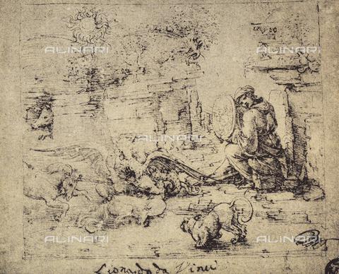 DIS-F-001614-0000 - Studio allegorico con animali, disegno, Leonardo, Museo del Louvre, Parigi