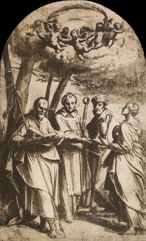 DIS-F-001656-0000 - Study for the painting of the four saints, British Museum, London