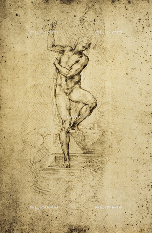 DIS-F-001686-0000 - Study for a Resurrection; drawing by Michelangelo. British Museum, London