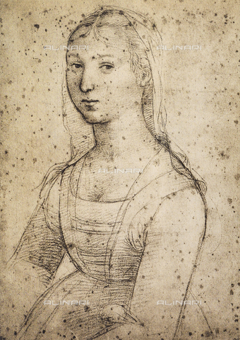DIS-F-001703-0000 - Female portrait; drawing by Raphael. British Museum, London