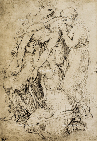 DIS-F-001707-0000 - Study for a Deposition; drawing by Raphael. British Museum, London