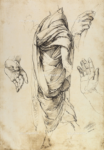 DIS-F-001713-0000 - Study of drapery and of hands; drawing by Raphael, British Museum, London