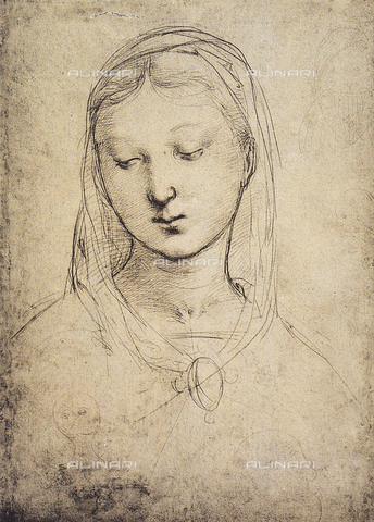 DIS-F-001716-0000 - Drawing with the face of the Virgin; by Raphael. British Museum, London