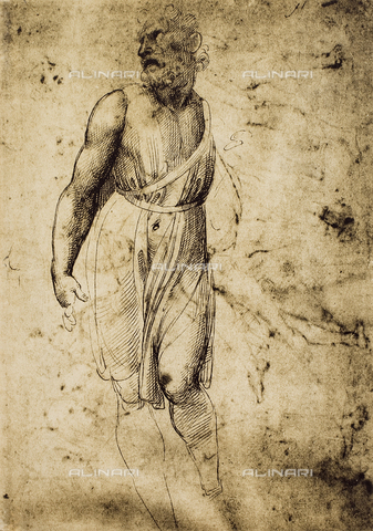 DIS-F-001719-0000 - Male figure; drawing by Raphael. British Museum, London