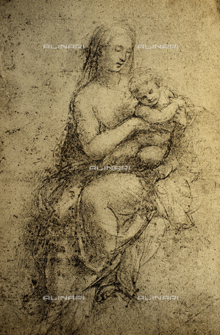 DIS-F-001727-0000 - Madonna and Child; drawing by Raphael. British Museum, London