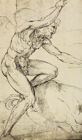DIS-F-001729-0000 - Figure of Hercules; drawing by Raphael. British Museum, London