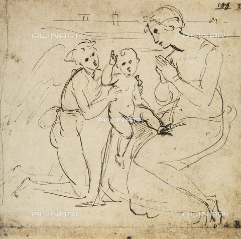 DIS-F-001732-0000 - Study for a Madonna and Child and and angel, Raphael, British Museum, London