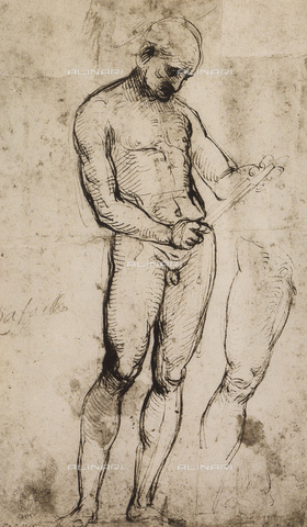 DIS-F-001739-0000 - Study of a male nude, standing, Raphael, British Museum, London