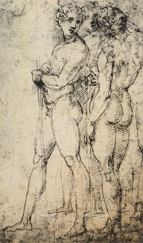 DIS-F-001742-0000 - Study of two male nudes, standing, Raphael, British Museum, London