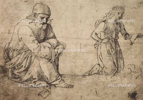 DIS-F-001744-0000 - Study of a seated elderly man and a kneeling angel, British Museum, London