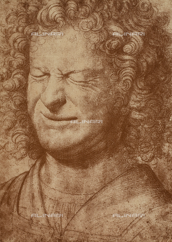 DIS-F-001750-0000 - Portrait of a grimacing man, drawing, British Museum, London