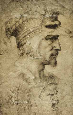 DIS-F-001754-0000 - Head of a warrior, drawing by the School of Michelangelo, British Museum, London