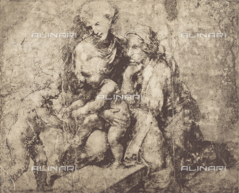 DIS-F-001767-0000 - Madonna and Child, Saint Anne and the infant St. John, drawing; British Museum, London