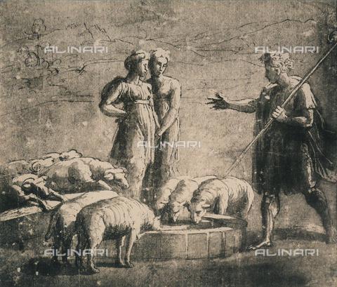 DIS-F-003960-0000 - Giacobbe alla fonte, studio per l'affresco delle Logge Vaticane; disegno di Raffaello, Graphische Sammlung, Albertina, Vienna