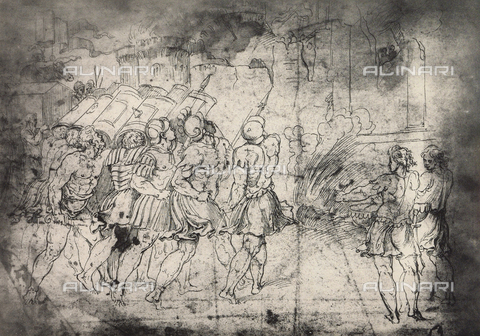 DIS-F-003963-0000 - The destruction of the walls of Jericho; drawing by Raphael, Graphische Sammlung, Albertina, Vienna