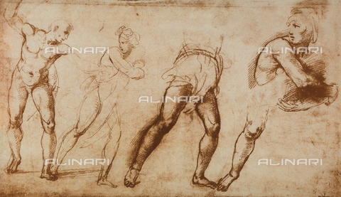 DIS-F-003966-0000 - A few studies for the Massacre of the Innocents; drawing by Raphael, Graphische Sammlung, Albertina, Vienna